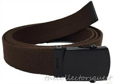 "DARK BROWN ADJUSTABLE 42"" INCH CANVAS MILITARY WEB BELT BLACK BUCKLE MEN WOMEN"