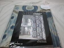 """New STUDIO M SATARA Fabric Shower Curtain72""""x72""""  - Blue, Olive, Tan Circles NIP"""