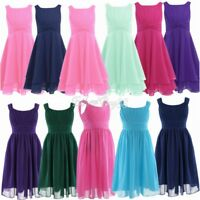 Girls Kids Princess Chiffon Flower Party Formal Wedding Bridesmaid Gown Dress