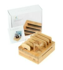 Kurrent Bamboo Desktop Charging Organizer Multi Device Dock