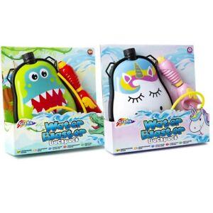Grafix T-Rex / Unicorn Water Blaster Backpack Gun Kids Outdoor Soaker Pistol