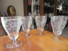 "Crystal Stemmed etched Juice Glasses, set of 4, 4.75"" tall by 3"" wide, beautiful"