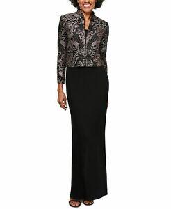 Alex Evenings Women's Dress Black Size 12 Glitter Jacket Jersey Gown $219 #067