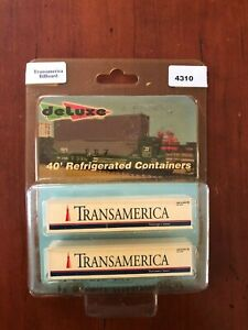 Deluxe Innovations N Scale Pair of 40' Refrigerated Containers - Transamerica Bi
