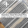 5 Steel KNURLED PINS Fit & Remove Watch Bracelet Links Ø0.90-1.50mm & 6mm-30mm