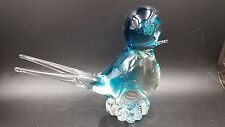 Vintage Murano Italy Art Glass Blue Bird with Forked Tail
