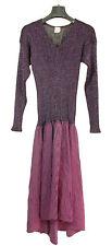 Abito Sera firma Krizia viola manica lunga maglina stretch vintage'80 tg42/44-PR