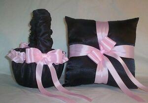 BLACK SATIN / LIGHT PINK TRIM FLOWER GIRL BASKET & RING BEARER PILLOW # 1