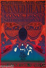 Vintage Music/Concert Poster/Psychedelic Poster/The Vulcan Gas Co./Canned Heat