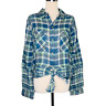 Free People Womens XL First Bloom Plaid Top Button Tie Front Shirt Chambray New
