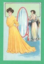 VINTAGE P. SCHMIDT ART POSTCARD #17 DRESS SHOP MIRROR SALESLADY WOMAN IN YELLOW