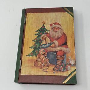 "Vintage Christmas Santa Faux Book Storage Gift Stash Box Wooden 9 3/4"" Hinged"