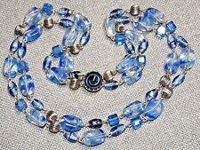 VINTAGE SILVER TONE LIGHT BLUE ART CZECH GLASS 2 STRAND NECKLACE