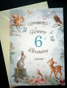 Personalised Children's WOODLAND ANIMALS birthday card, Any age / Recipient