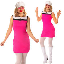 Ladies Hippie Girl Costume 60s 70s Hippy Mod Fancy Dress Womens Outfit & Hat