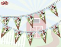 Happy Birthday Farmyard Bunting Banner 15 flags Animals Group by Party Decor