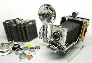 Linhof Technika III 4x5 Large Format View Camera w Goerz Dagor 6 in. 6.8, EXTRAS