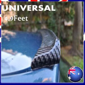 Universal Carbon Fiber PU Car Rear Roof Trunk Spoiler Wing Lip Sticker Kit AUS