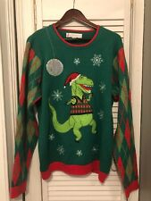 Jolly Sweaters Dancing Dinosaur Ugly Christmas Sweater Size L Green Red Holiday
