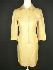 Banana Republic Women's Skirt Suit US 0 Pale Yellow Woven 3/4 Sleeve 3-Btn