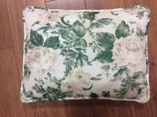 SHABBY CHIC PILLOW WHITE TAN GREEN FLORAL 17X12 RECTANGLE ROSES COUNTRY FUN!!
