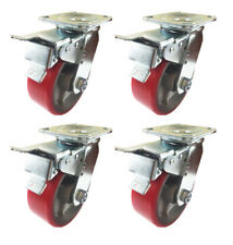 """5"""" x 2""""  Polyurethane on Cast Iron (Red) - 4 Swivels with Total Lock Brake"""