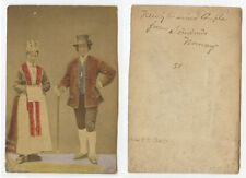 ALBUMEN PHOTO HAND TINTED NEWLY MARRIED COUPLE FROM NORWAY IN TRADITIONAL DRESS