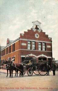 Seymour Indiana City Building and Fire Department Vintage Postcard AA45493