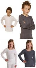 Boys Girls Children Underwear Long Sleeve Thermal Vest T Shirt Age 2 up Age 13
