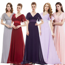 Women V-neck Long Formal Evening Party Dress Wedding Bridesmaid Dress 09890
