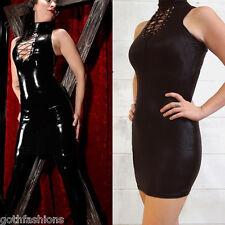 Sexy Black Wetlook Mini Dress Sleeveless Lace Up Turtleneck Clubwear Bodycon OS