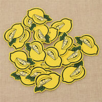 20 Pcs Fabric Yellow Whole Lemon Patches Iron on  Applique Crafts Decoration DIY