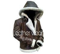 Men's B3 Shearling Flight Bomber Distress Brown Vintage Cowhide Leather Jacket