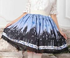 Cosplay Gothic Lolita Fairy Tale Castle with Starry Sky Print Princess Skirt