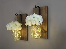 Rustic Mason Jar Wall Light Sconce (Pair Of 2)