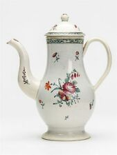 ANTIQUE FLORAL PAINTED PEARLWARE COFFEE POT 18TH C.