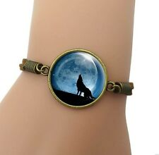 Howling Wolf Round Pendant Cabochon Brown Leather Bracelet USA Shipper #243