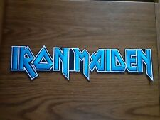 IRON MAIDEN,SEW ON BLUE WITH WHITE EDGE EMBROIDERED LARGE BACK PATCH