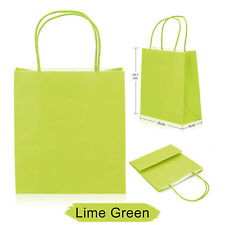 Party Gift Coloured Paper Bags With Handles Wedding Birthday Christmas Shopping Lime Green 20