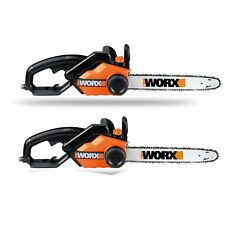 Worx 16-Inch Bar Powerful 14.5 Amp Lightweight Corded Electric Chainsaw (2 Pack)