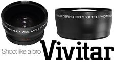 2-Pc HD Lens Kit Wide Angle & 2.2x Telephoto Lens For Canon Vixia HF21 HF200
