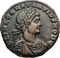 CONSTANTIUS II Authentic Ancient 330AD Genuine Roman Coin w SOLDIERS  i71006