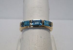 Hallmarked - Emerald Cut Blue Topaz - Three-Stone - 14K Yellow Gold - Ring