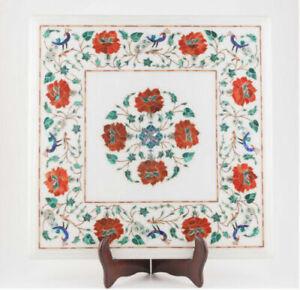 """18"""" White Marble Table Top Semi Precious Stones Pietradura Inlay Handmade work"""