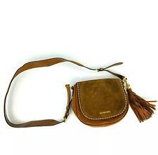 MICHAEL KORS Womens Crossbody Purse Leather Suede Saddlebag Boho Gold Hardware