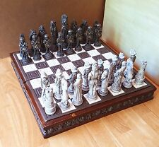 Vintage Hand Carved Extremely Rare Collectible Display Chess Board