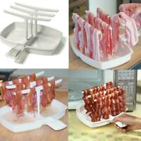 Microwave Bacon Rack Hanger Cooker Tray For Cook Bar Breakfast Meal Crisp Z4B2