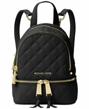 RARE MICHAEL KORS BLACK RHEA MINI QUILTED MESSENGER BACKPACK~GOLD HARDWARE