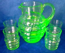 Uranium Glass Hand Blown Pitcher & 4 Tumblers Antique Art Deco ca 1920s