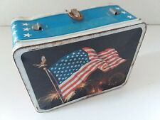 American Flag Vintage 1973 Ohio Art Metal Lunchbox No Thermos No Cover Good